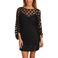 Laundry by Shelli Segal L/S Mesh Dot Dress Black - Zappos.com Free Shipping BOTH Ways