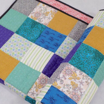 Patchwork Baby Quilt, Toddler Blanket, Large Cot Quilt, New York Baby, Chair Throw, Bohemian Quilt, Patchwork baby Quilt, Large Baby Quilt