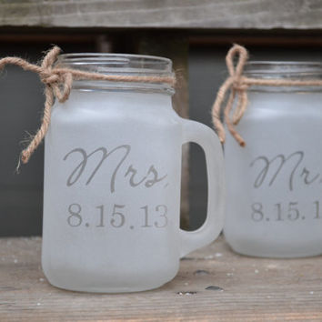 Custom Mr. And Mrs. Mason Jar Tumblers, Mason Jar, Mason Jar Glasses, Mason Jar Cups, Mason Jar Toasting Glasses