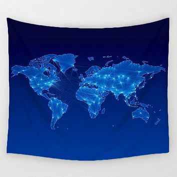 Travel World Map Tapestry