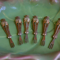 Vintage Pineapple Cocktail Forks Gold Gilded Pineapple Forks Pineapple Appetizer Forks Pineapple horderve forks