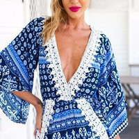 BLUE BOHEMIAN BEACH COVER UP DRESS