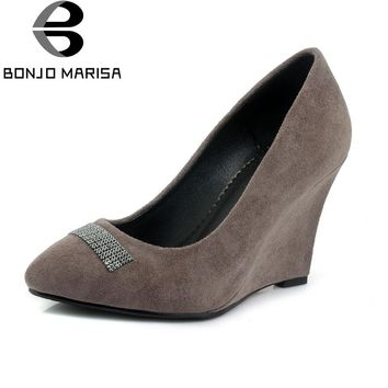 BONJOMARISA Women's Rhinestone Decoration High Heel Pointed Toe Wedges Suede Office Pumps Shoes Woman Big Size 32-42