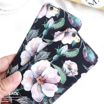 Fashion Cartoon Camellia Flower Case For iphone 6 Case For iphone 6S 7 7 PLus Cover Luxury Retro Floral Phone Cases Hard Coque -Girllove100