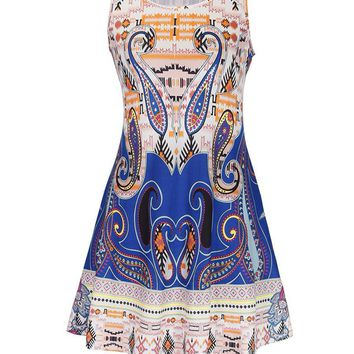 Streetstyle  Casual Tropical Paisley Printed Plus Size Shift Dress