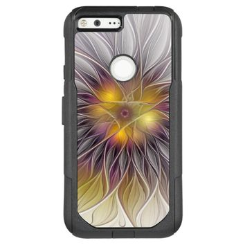Luminous Colorful Flower, Abstract Modern Fractal OtterBox Commuter Google Pixel XL Case