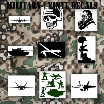 MILITARY vinyl decals - 1-9 - Army, Air Force, Navy and Marines - vinyl stickers - car decals - custom military stickers - window decals