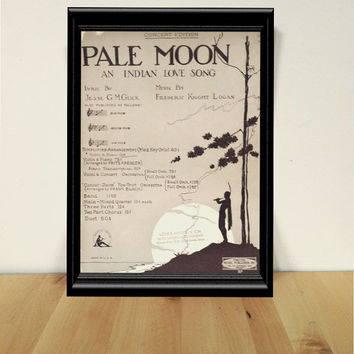 Pale Moon An Indian Love Song, Violin and Piano Sheet Music {1920} Vintage Paper Ephemera