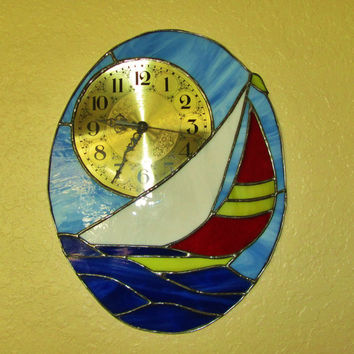 Sailboat  Wall Clock ~ Stained Glass Clock ~ 15 x 12 Inches ~ 7 Inch Brass Clock Face ~ Battery Operated ~ Nautical Decor