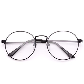 Blaine Round Metal Clear Eyeglasses, Trendy Hipster Round Frame Clear Glasses