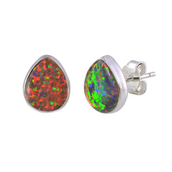 Opal Stud Earrings Gemstone Sterling Silver Iridescent Orange Pear shape 9mmx7mm
