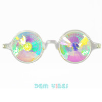Clear Festival Kaleidoscope Glasses Clear Rainbow