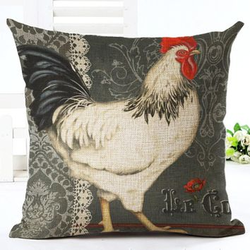 Unique Chicken Series Printed Linen Cotton Square 45x45cm Home Decor Houseware Throw Pillow Cushion Cojines Almohadas
