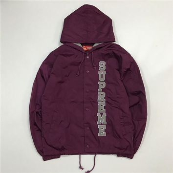 Supreme 17ss Vertical Logo Hooded Coaches Jacket S Xl Purple | Best Deal Online