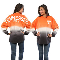 Tennessee Volunteers Women's Ombre Long Sleeve Dip-Dyed Spirit Jersey - Tenn Orange