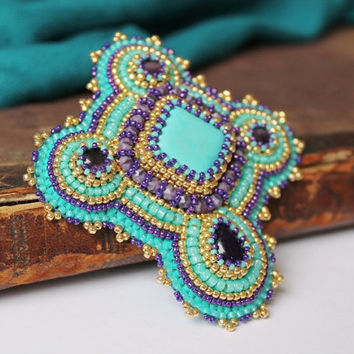 Turquoise Brooch Embroidery Brooch Purple Gold Brooch Ethnic Tribal jewelry Statement Brooch Cabochon Brooch Turquoise Jewelry