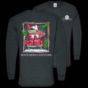 Southern Couture Preppy Present Truck Holiday Long Sleeve T-Shirt