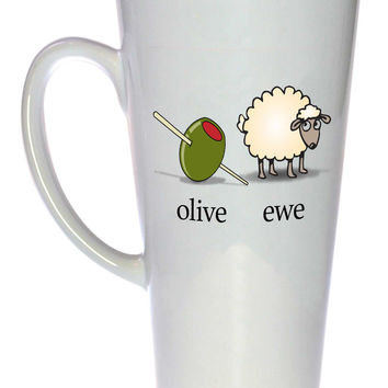 Olive Ewe (I Love You) Coffee or Tea Mug, Latte Size