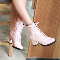 Round Toe Lace-Up Ankle Boots