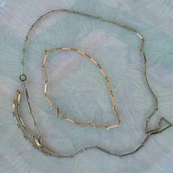 Ladder Chain Necklace and Long 9.5 Inch Bracelet Married Set