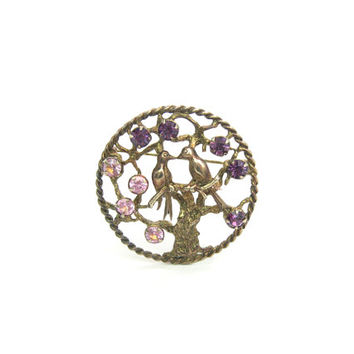 Love Birds Brooch.  Sterling Silver, Gold Wash, Rhinestones. Swallows in Tree. Vintage 1960s Retro Tree of Life Jewelry