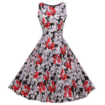 Red Floral Sleeveless Tie-Back Midi Skater Dress