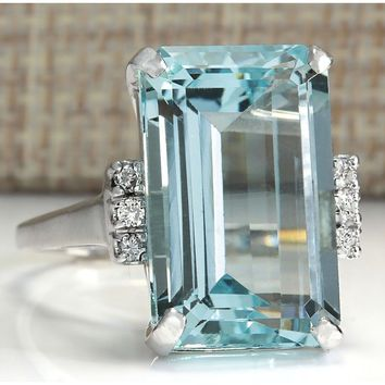 16.42CT Natural Aquamarine 925 Sterling Silver Wedding Ring