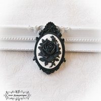 Black ornate brooch with flower cabochon 30x40mm-Gothic brooch-Black brooch-Gothic jewelry-Black brooch