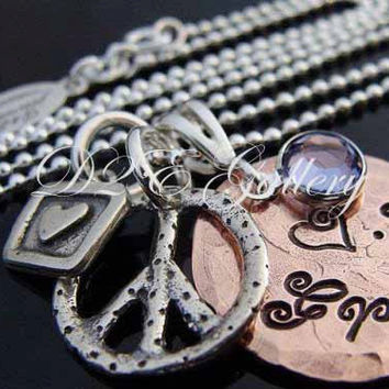 D2E hand stamped lucky penny sterling silver charm necklace