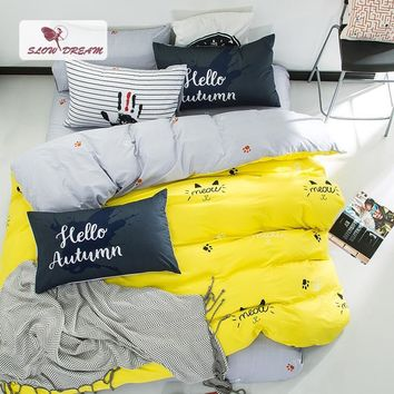 Cool SlowDream Nordic Yellow Bedding Set Cotton Duvet Cover Bedspread Bed Linen Flat Sheet Set Queen King Adult Double BedclothesAT_93_12