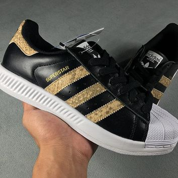 Adidas Superstar Shell-toe Flats Black Python Sneakers Causel Sport Shoes