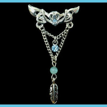 Tribal Belly Ring with Chain , Blue Rhinestone and Silver Feather