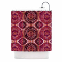 "Nina May ""Magenta Mandala Stripe"" Magenta Red Mixed Media Shower Curtain"