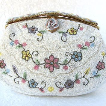 The SWEETEST Vintage Micro Beaded Purse French Glass Bead Clutch Spring Bride Flower Wedding Handbag White Pink Blue Yellow Hand Made France
