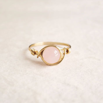 Rose Quartz Ring - unique ring - cute ring