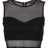 Petite Rib Panel Mesh Crop Top - Going Out - Collections - Topshop USA