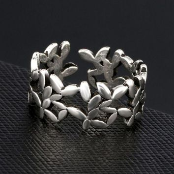 PEAPDQ7 Retro Silver S925 Leaf Branch Openable Ring