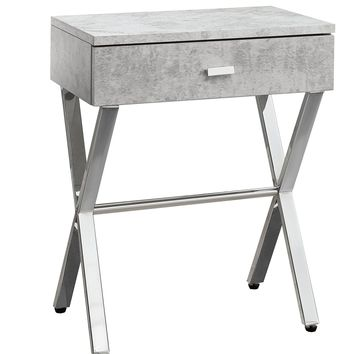 Accent Table - Grey Cement, Chrome Metal Night Stand
