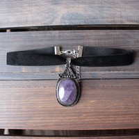 rock n rose - zaria amethyst gemstone choker