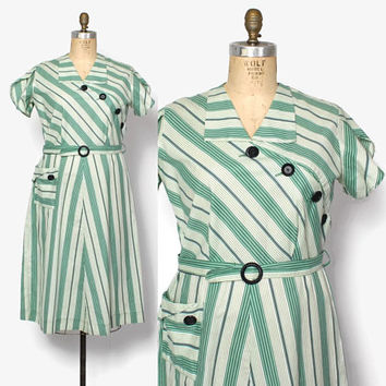 Vintage 40s Striped Day DRESS / 1940s Green & White Asymmetric Button Belted Cotton Dress XL Plus Size