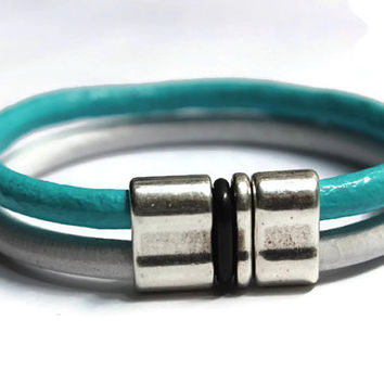 Double Strand, Turquoise, White, Leather Bracelet, Double Strand Jewelry, Silver Double Clasp Separator, PPP, PepperPotLeatherShop