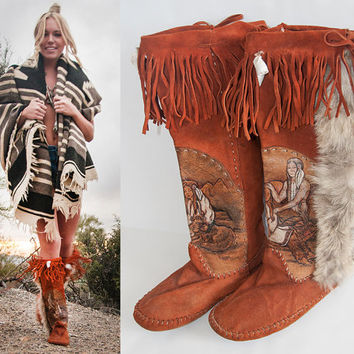 RARE Handmade Suede Moccasin Boots 7 7.5 | Womens Hand Painted Native American Fringe Boots Boho Mocassins | Ethnic Indian Leather Booties 7
