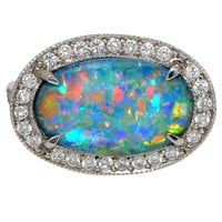 2.77 Carat Opal Diamond Platinum Ring