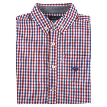 Navy & Red Gingham Long Sleeve Button-down Shirt