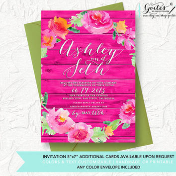 Shabby chic wedding invitations, peony invitation, floral wedding invitations, country wood invitations, rustic chic wedding invitation.