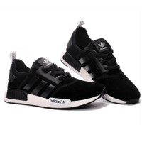 "Fashion ""Adidas"" Women Trending NMD Running Sports Shoes Black red logo soles"