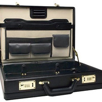 Leather Like Briefcase Laptop Brief Case Combination Lock Business Apple Compute
