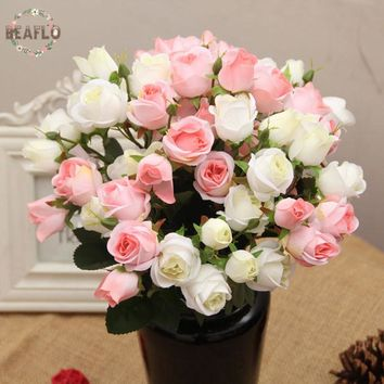 1 Bunch 15 Heads Artificial Flowers Rose Bouquet For Wedding Flower Arrangement Home Decorative