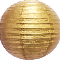 """12"""" GOLD ROUND PAPER LANTERN, EVEN RIBBING, HANGING (LIGHT NOT INCLUDED)"""