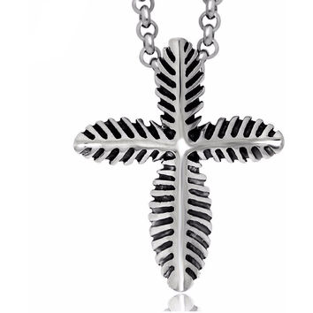 Native American Vintage Titanium Leaf Cross Pendant Tribal Necklace